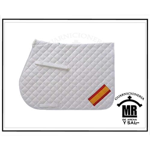 Mantilla mehis algodón acolchada con bandera española blanco ful